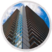 Skyscraper Front View With Blue Sky Round Beach Towel