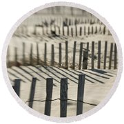 Slats Of Wooden Fence Throwing Shadows Round Beach Towel