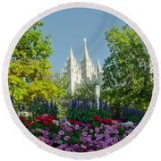 Slc Temple Flowers Round Beach Towel