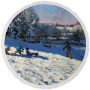 Sledging Near Youlgreave Round Beach Towel by Andrew Macara