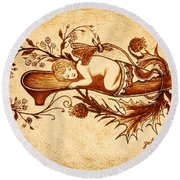 Sleeping Angel Original Coffee Painting Round Beach Towel