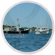 Sleepy Boats At Chatham - Cape Cod  Ma Round Beach Towel
