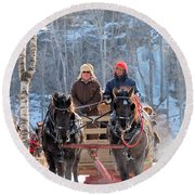 Sleigh Ride In The Frontenac Axis Round Beach Towel