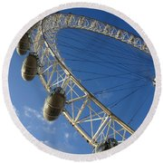 Slice Of The Wheel Of London Eye From An Angle Round Beach Towel