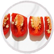 Sliced Red Peppers Round Beach Towel