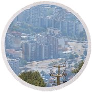 Sliven Bulgaria From Chair Lift Round Beach Towel