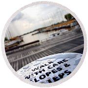Slopes And Steps Round Beach Towel