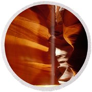 Slot Canyon Shaft Of Light Round Beach Towel
