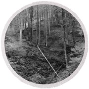 Slovenian Forest In Black And White Round Beach Towel