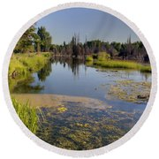 Slow Snake River Round Beach Towel