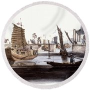 Sluice In China, 1800 Round Beach Towel