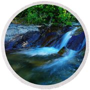 Small Blue Water Round Beach Towel