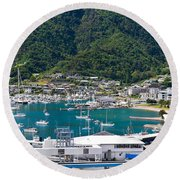 Small Idyllic Yacht Harbor  Round Beach Towel