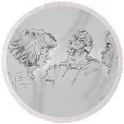 Small Talk  Over Coffee Round Beach Towel by Ylli Haruni