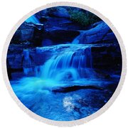 Small Waterfall Going Into Spirit Lake  Round Beach Towel