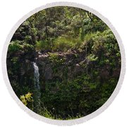Small Waterfall - Hana Highway Round Beach Towel