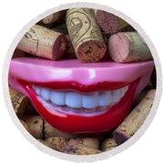 Smile Among Wine Corks Round Beach Towel