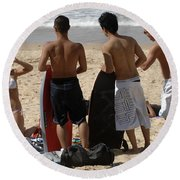 Smile Boys Bondi Beach Australia Round Beach Towel