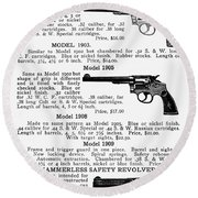Smith & Wesson Revolvers Round Beach Towel