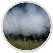 Smoke And Steel Round Beach Towel