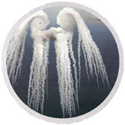 Smoke Angel Created By Wingtip Vortices Round Beach Towel by Photo Researchers