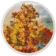 Smoke Tree In The Karst Round Beach Towel