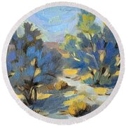 Smoketrees Light And Shadow Round Beach Towel