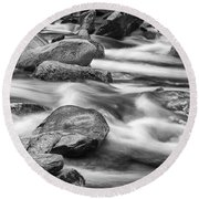 Smokey Mountain Stream Of Flowing Water Over Rocks Round Beach Towel