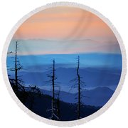 Smokey Mountain Sunset As Seen From Clingman's Dome Round Beach Towel