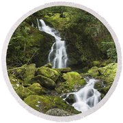 Smoky Mountain Waterfall - Mouse Creek Falls Round Beach Towel