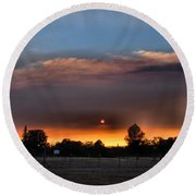 Smoky Sunset Wide Angle 08 27 12 Round Beach Towel