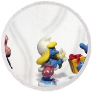 Smurf Figurines Round Beach Towel by Amir Paz