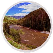 Snake River And Rafters Round Beach Towel