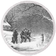 Snaring Rabbits, 1867 Round Beach Towel