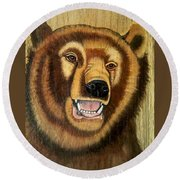 Snarling Grizzly Round Beach Towel