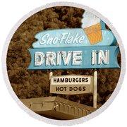 Sno-flake Drive In Lake Tahoe Round Beach Towel