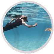 Snorkeler Photographing Green Turtle Round Beach Towel