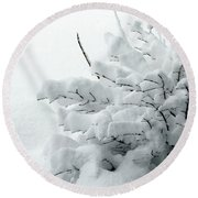 Snow Abstract 2 Round Beach Towel