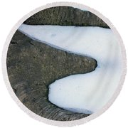 Snow Abstract Round Beach Towel