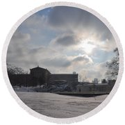 Snow At The Art Museum - Philadelphia Round Beach Towel