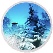 Snow Bow Round Beach Towel