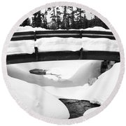 Snow Bridge In Canadian Rockies Round Beach Towel