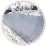 Snow By The Roadside Round Beach Towel by Ted Kinsman
