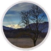 Snow-capped Monte Rosa Round Beach Towel