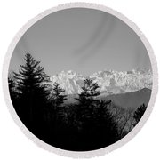 Snow-capped Mountain And Trees Round Beach Towel