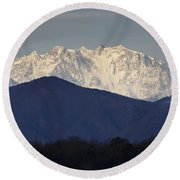 Snow-capped Mountain Monte Rosa Round Beach Towel