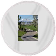 Snow Capped Mountains In The Desert Round Beach Towel