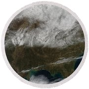 Snow Cover Stretching From Northeastern Round Beach Towel by Stocktrek Images