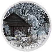 Snow Covered Barn Round Beach Towel