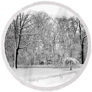 Snow Covered Round Beach Towel